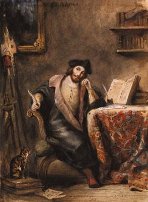 Эжен Делакруа. Фауст в своем кабинете