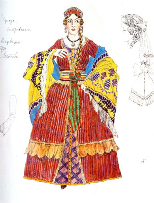 "Alexander Yakovlevich Golovin. Barbarian. Costume design for the drama A. N. Ostrovsky ""Thunderstorm"""