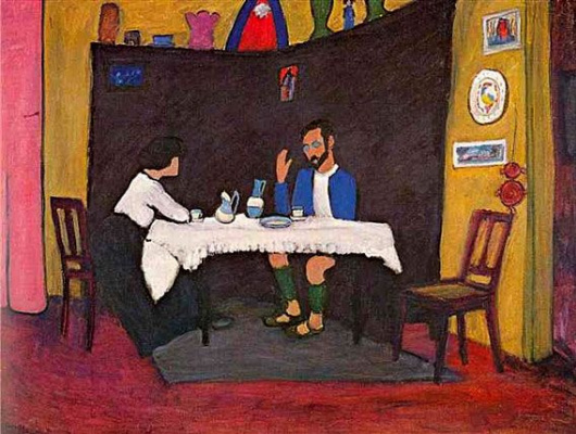 Gabriele Münter. Kandinsky and Erma Bossi at the table in the Murnau