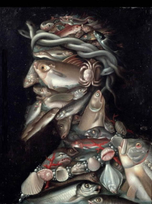 Giuseppe Arcimboldo. Admiral (still life with fish and seafood)