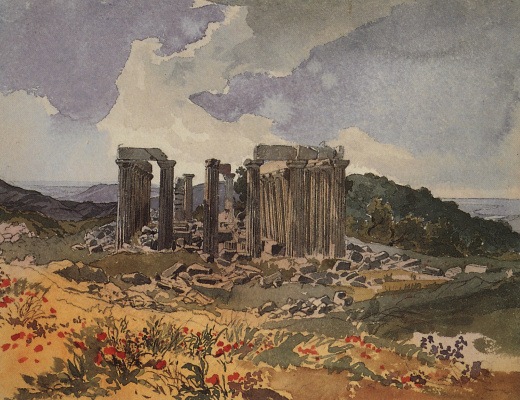 """Karl Pavlovich Bryullov. The temple of Epicurean Apollo in Figalia. From illustrations for """"Atlas to travel notes"""" gr. V. P. Davydov, 1835, published in 1840"""