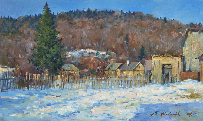 Alexander Victorovich Shevelyov. Winter evening.Yard. oil on cardboard 30,4 # 50,5 cm 2008