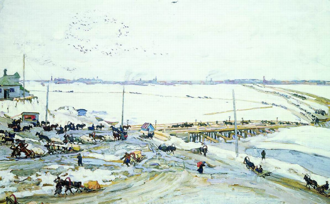 Konstantin Fedorovich Yuon. Crossing through the Oka. Nizhny Novgorod. 1909 white