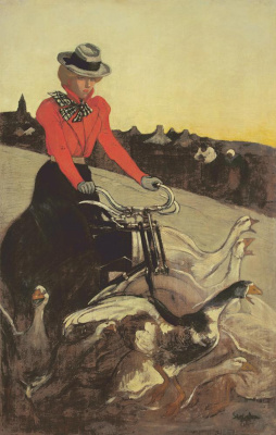 Theophile-Alexander Steinlen. On a motorcycle among geese (original)