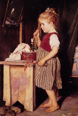 Агата Ростел. Молодая девушка расчесывает волосы