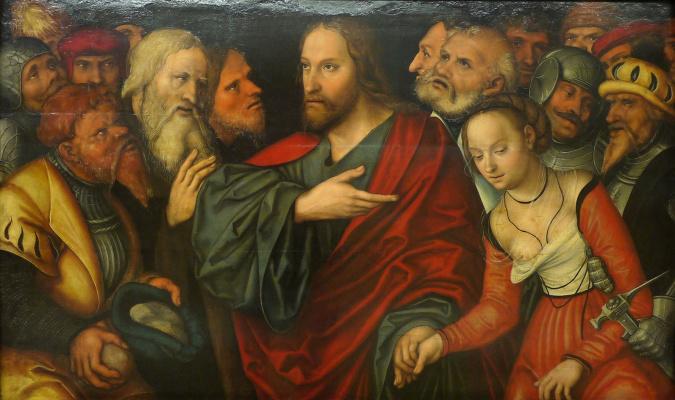 Lucas Cranach the Younger. Христос и грешница. 1545