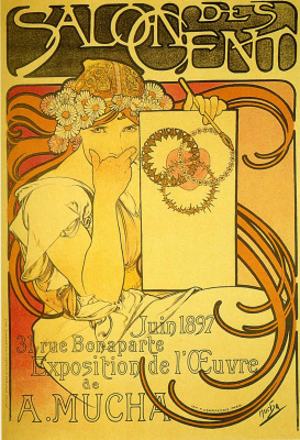 "Alfons Mucha. The first poster of the exhibition Flies in the ""salon of the one hundred"""