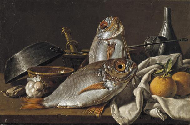 Луис Мелендес. Натюрморт с дорадами, апельсинами, чесноком, специями и посудой.