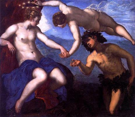 Jacopo (Robusti) Tintoretto. Bacchus, Venus and Ariadne