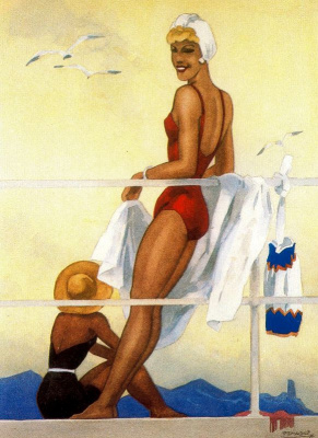 Rafael de Penagos. On the beach in a red swimsuit