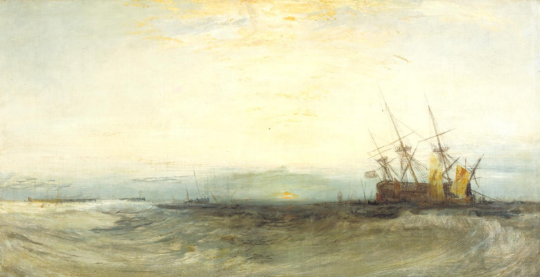 Joseph Mallord William Turner. A ship aground, Yarmouth