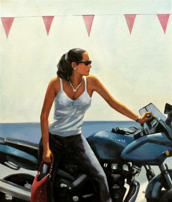Savely Kamsky. Copy of Jack Vettriano's picture La fille la moto