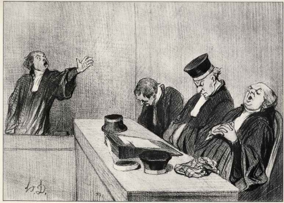 "Honore Daumier. Advocate with the court ""..because justice constantly stands out.."""