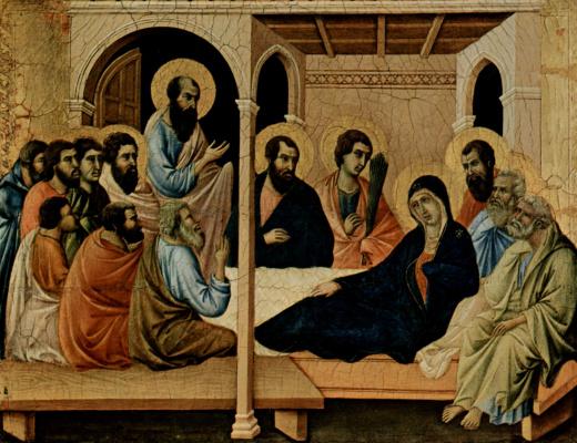 Дуччо ди Буонинсенья. Маэста, алтарь сиенского кафедрального собора, передняя сторона, Алтарь со сценами Успения Марии: Прощание апостолов с Марией