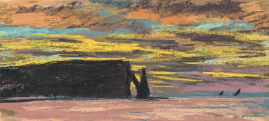 Claude Monet. Pic port d Aval, Etretat, Sunset
