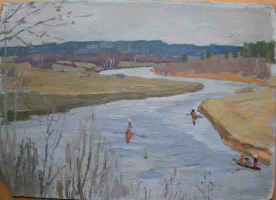 Nina Vasilievna Sedova. Kayaks on Sukhona