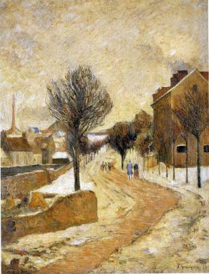 Paul Gauguin. The suburbs in the snow