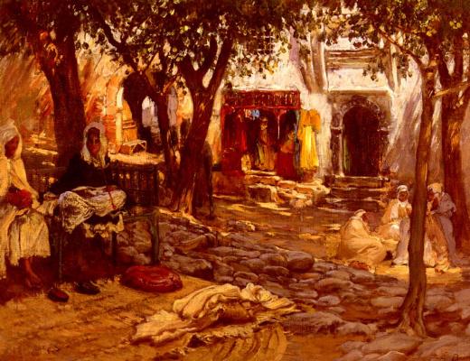 Frederick Arthur Bridgman. Idle moments: an Arab courtyard