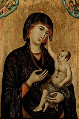 Duccio di Buoninsegna. Madonna di Crevole, the scene of Madonna on a throne and two angels