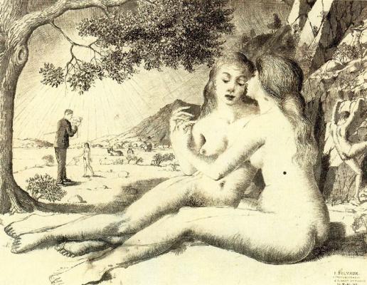 Paul Delvo. Girls hug in the garden