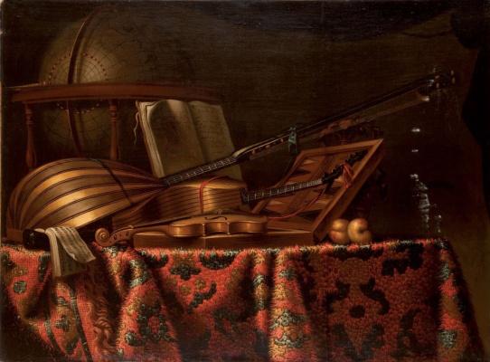 Бартоломео Беттера. Натюрморт с мандолиной и скрипкой