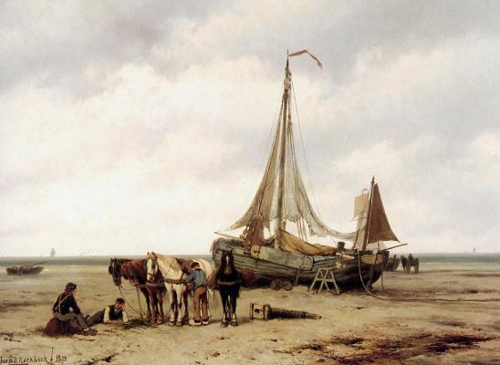 Ян Куккук. Пляжный вид с кораблями