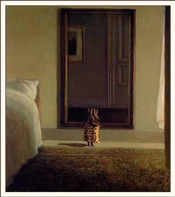 Michael Owl. Rabbit in front of a mirror