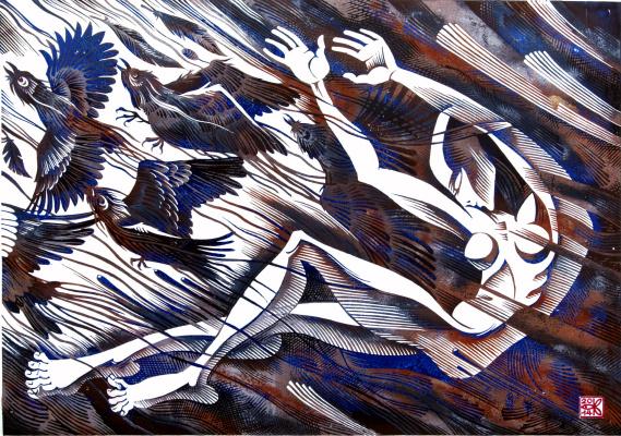 "Vladimir Kataev. ""Four-fifteen. Episode one"", X3/M, A/R, 50 X 72 cm, 2014"