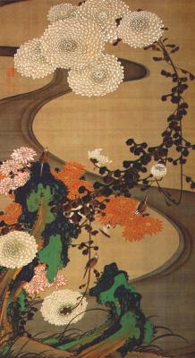 Ито Дзякутю. Птицы и хризантемы у ручья