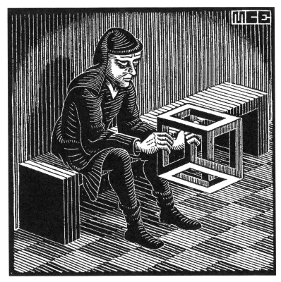 Maurits Cornelis Escher. Man with a cube