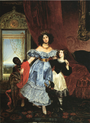 Karl Pavlovich Bryullov. Portrait of Countess Y. P. Samoilova with a pupil Dzhovaniny Pacini and black boy