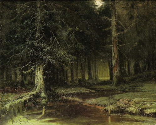 Julius Klever. View of forest at dusk