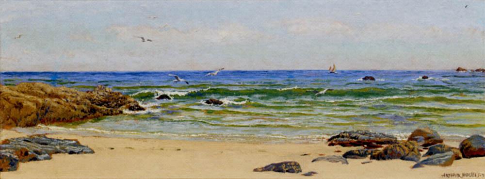Arthur Hughes. Yellow sand on the coast