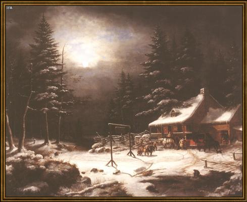 Гостиница Белая Лошадь в лунном свете