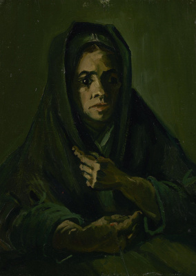 Woman in a mourning shawl