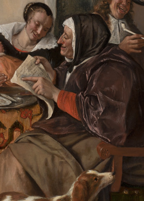 """Jan Steen. """"As the old sing, so the young pipe and plays"""". Snippet: grandma"""