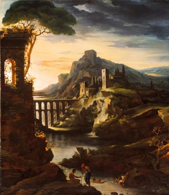 Théodore Géricault. Evening landscape with aqueduct
