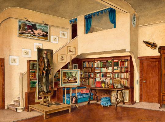 Александр Борисович Серебряков. Интерьер студии Сержа Иванова в Париже. 1946