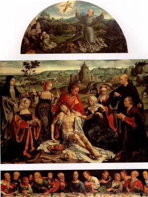 Йос ван Клеве. Оплакивание Христа с Тайной вечерей и св. Франциском, получающим стигматы