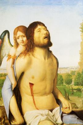 Антонелло да Мессина. Мертвый Христос поддерживается ангелом