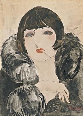 Kees Van Dongen. Portrait of a woman with cigarette (Kiki de Montparnasse)