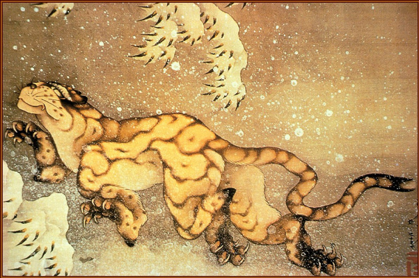 Katsushika Hokusai. Old tiger in the snow