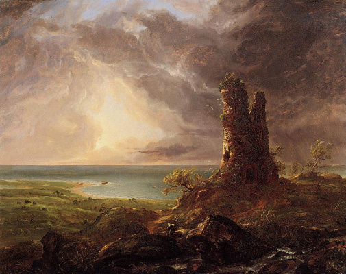Thomas Cole. Romantic landscape with ruined tower
