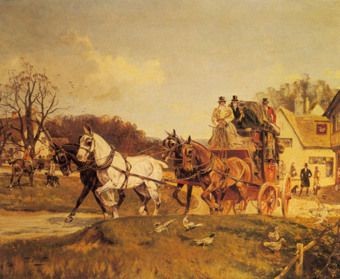 Дорожный экипаж, запряженный четверкой коней