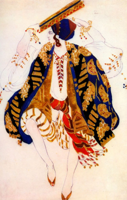 "Lev Samoilovich Bakst (Leon Bakst). Costume design for the Jewish dance with a tambourine for the ballet ""Cleopatra"""