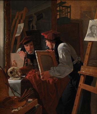 Вильгельм Бендз. Молодой художник (Детлеф Блунк) смотрит на эскиз через зеркало
