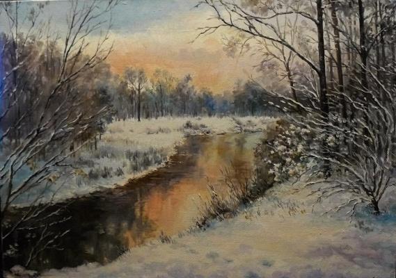 Vladimir Kimovich Vakhrushev. Evening.the river Kirzhach.December