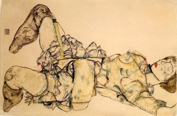 Egon Schiele. Reclining woman with raised skirt