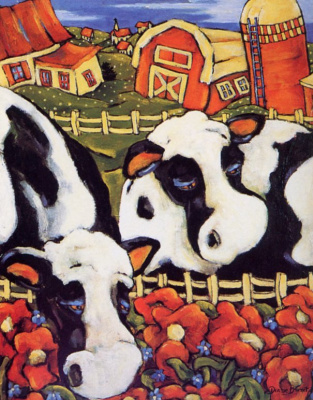 Диана Брюне. Коровы пасутся