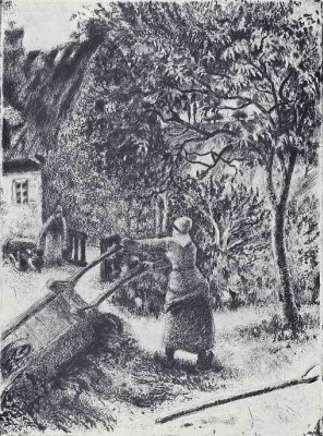 Camille Pissarro. The woman, tipping a wheelbarrow